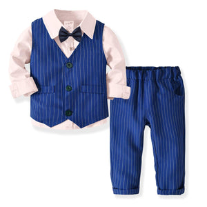 Fashionable Shirt  Striped Vest & Pants Set, zoerea.com