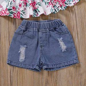 Sweet Floral Top And Denim Shorts Set, zoerea.com