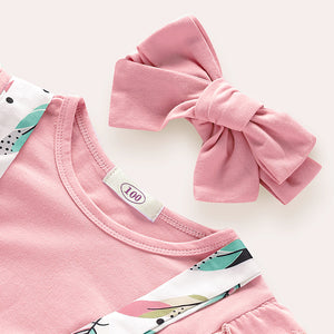 Baby Girls' Basic Solid Colored / Print Short Sleeve Clothing Set, zoerea.com