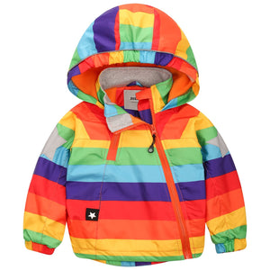 Rainbow Striped Fleece-lined Hooded Jacket, zoerea.com