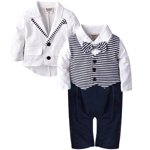 2-piece Gentleman Striped Faux Overalls And Coat, zoerea.com