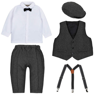 4-piece White Shirt And Suspender Pants With Hat - zoerea.com