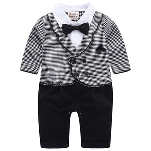Gentleman Plaid Button Decor Lapel Jumpsuit, zoerea.com