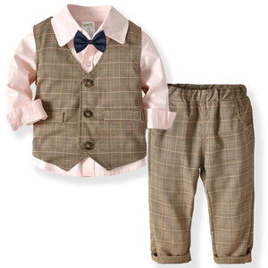 Gentleman Shirt Plaid Vest And Pants Outfit - zoerea.com