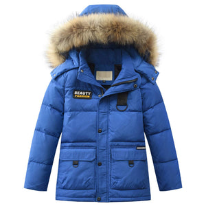 Winter Duck-lining Detachable Hooded Coat, zoerea.com