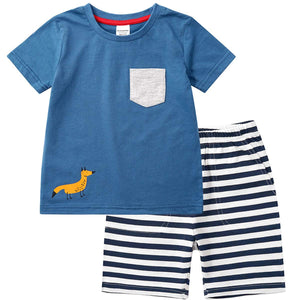 Casual Pocket Design Tee and Striped Shorts Set - zoerea.com