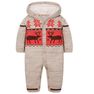 Super Warm Deer Patterned Hoodie Jumpsuit, zoerea.com