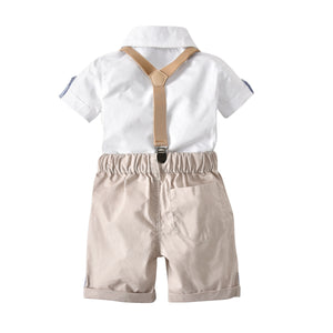 Gentleman Shirt Bodysuit And Shorts Set, zoerea.com