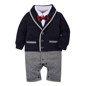 Gentleman Color Blocked Bow Tie Jumpsuit, zoerea.com