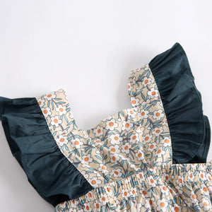 Beautiful Floral Print Ruffle-sleeve Bodysuit, zoerea.com