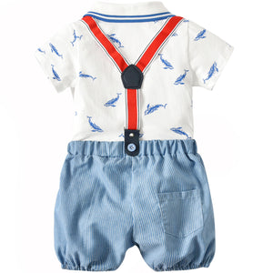 Shark Patterned Bodysuit and Suspender Shorts, zoerea.com