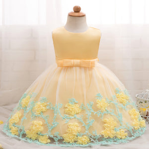Baby Girl 3D Floral Applique Sleeveless Tulle Party Dress, zoerea.com