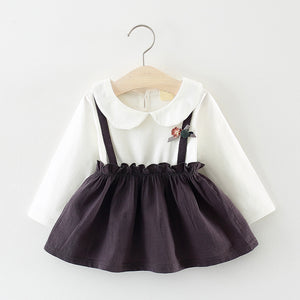 Baby/ Toddler Girl's Cartoon Doll Collar Faux-two Dress, zoerea.com