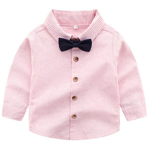 2-piece Bow Tie Striped Shirt And Suspender Pants, zoerea.com