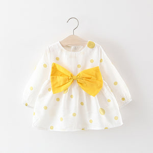 Cute Dotted Big Bow Decor Long-sleeve Dress, zoerea.com