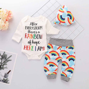 3-piece Letter Print Bodysuit, Rainbow Pattern Pants And Hat Set, zoerea.com