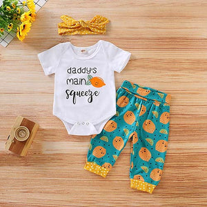 3-piece Letter Bodysuit, Fruit Pants And Headband, zoerea.com