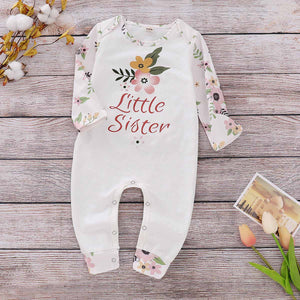 """Little Sister"" Print 100% Cotton Jumpsuit For Baby, zoerea.com"
