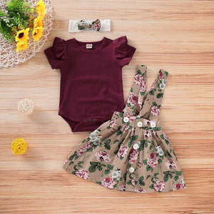 Solid Bodysuit And Floral Strap Skirt And Headband Set, zoerea.com