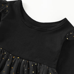 Baby Girls' Street chic Solid Colored Sequins Long Sleeve Dress, zoerea.com