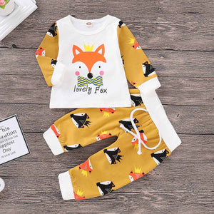 2-piece Lovely Fox Print Top And Fox Pattern Pants Set, zoerea.com