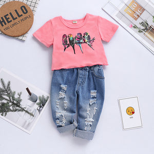 Baby Girls' Active / Basic Print Short Sleeve Ripped Jeans Clothing Set, zoerea.com