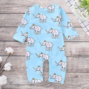Fashionable Elephant Printed Long-sleeve Jumpsuit, zoerea.com