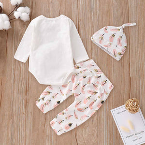 Pretty Feather Printed Romper, Pants And Hat Set, zoerea.com