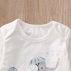 3-piece Cute Elephant Print Bodysuit, Animal Patterned Pants and Hat Set, zoerea.com