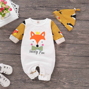 Fox Pattern Color Blocked Jumpsuit with Hat, zoerea.com