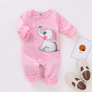 Baby Girls' Basic Print Long Sleeve Cotton Overall & Jumpsuit, zoerea.com
