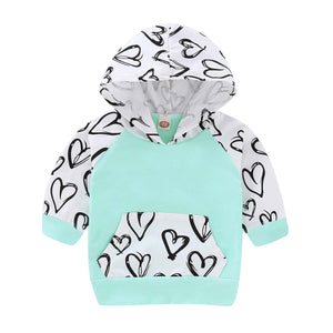 Heart Printed Long-sleeve Hoodie And Pants Set, zoerea.com