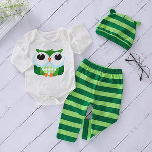 Cute Animal printed Bodysuit And Striped Pants Set, zoerea.com