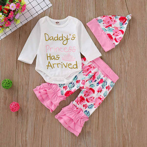 3-piece Letter Print Bodysuit with Floral Ruffled Pants and Headband, zoerea.com
