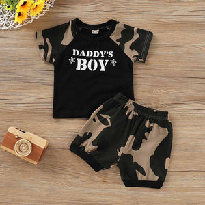 DADDY'S BOY Print Top and Camou Pants Set, zoerea.com