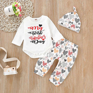 """My First Valetine's Day"" Bodysuit And Heart Print Pants Set, zoerea.com"