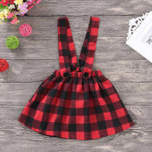 Beautiful Solid Long-sleeve Top and Plaid Strap Skirt Set, zoerea.com