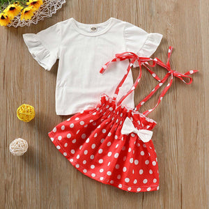 Solid Top And Polka Dots Bowknot Srap Skirt Set, zoerea.com
