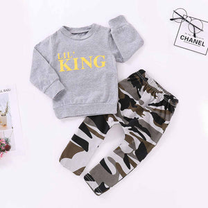 2-piece Letter Print Sweatshirt And Camouflage Pants, zoerea.com