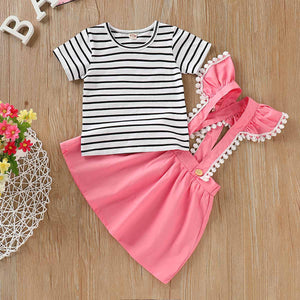 Striped Short-sleeve Tee And Stap Skirt Set, zoerea.com