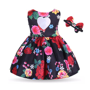 Toddler Baby Girls' Active / Basic Floral Sleeveless Cotton Red Dress, zoerea.com