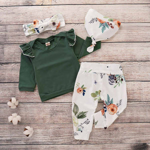 4-piece Solid Ruffle Top, Floral Pants, Hat And Headband Set, zoerea.com