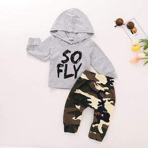 Baby Boys' Active Daily Print Hooded Long Sleeve Cotton Clothing Set, zoerea.com
