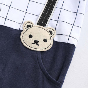 Little Bear Applique Plaid Jumpsuit, zoerea.com