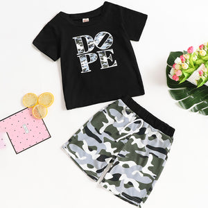 2-piece Trendy Letter Print T-shirt And Strappy Camouflage Shorts, zoerea.com