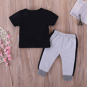 MINI BOSS Print Tee and Casual Pants Set, zoerea.com
