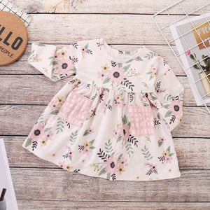 Baby Girls' Active / Basic Floral Long Sleeve Above Knee Dress, zoerea.com
