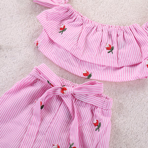 Striped Ruffle Sleeve Top And Waist Tie Shorts Set, zoerea.com