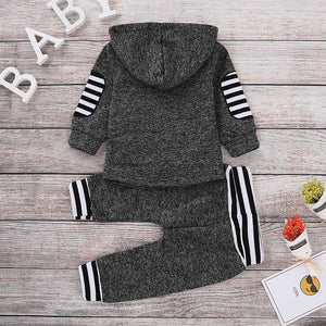2-piece Casual Striped Long-sleeve Hooded and Pants Set, zoerea.com