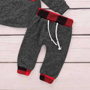 2-piece Comfy Plaid Hooded Top and Pants for Baby and Kid, zoerea.com